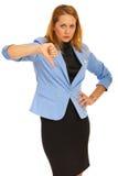 Wzburzona biznesowa kobieta z kciuka puszkiem Fotografia Stock