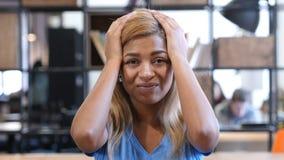 Wzburzona Czarna dziewczyna Reaguje niepowodzenie, Smutny portret Obraz Royalty Free