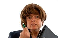 Wzburzona kobieta z PS2 myszą i laptopem Obrazy Stock