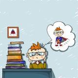 Wzburzonej chłopiec czerwony włosy marzy za stosem książki, coloured rysunek ręki farba, mała marzycielka, bohater ilustracji