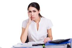 Wzburzony biznesowej kobiety główkowanie Obraz Stock