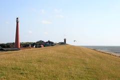 wzdłuż brzegowej holenderskiej latarni morskiej północnego morza Obraz Stock