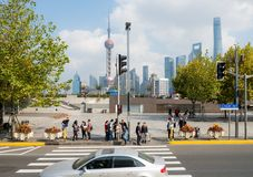 Wzdłuż Bund, Szanghaj, Chiny zdjęcie stock