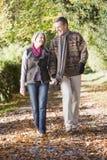 wzdłuż drogi jesieni pary seniora chodzącym Zdjęcie Royalty Free