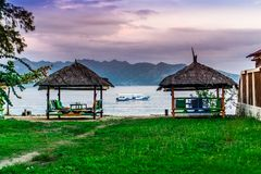 Wzdłuż plaży cabanas w Gil powietrzu Fotografia Stock