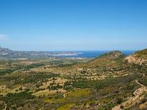 wzdłuż samochodu wybrzeża Corsica krajobrazu linii podróż zdjęcie stock