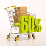 Wózek na zakupy i 60 procentów Obrazy Royalty Free