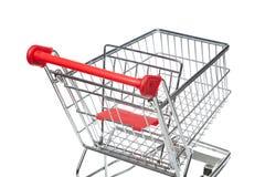 Wózek na zakupy, odizolowywający na bielu Fotografia Stock