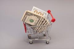 Wózek na zakupy z dolarami Obraz Stock