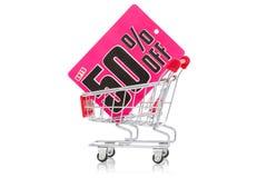 Wózek na zakupy z sprzedaży etykietką Obraz Stock