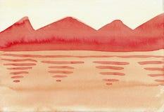 Wzgórza Blisko jeziora - Wodnego koloru obraz royalty ilustracja