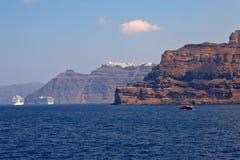 wzgórza budynku Greece wyspy santorini Obrazy Royalty Free