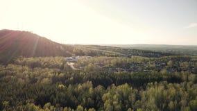 Wzgórza i tajgi widok od trutnia zdjęcie wideo
