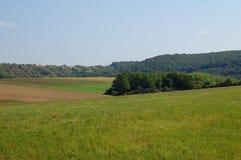 wzgórza, las i niebieskie niebo, Zdjęcia Stock