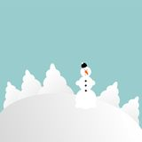 wzgórza nighttime sceny bałwan śnieżny Obraz Stock