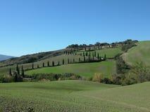wzgórza Włoch zwija Toskanii Zdjęcia Stock