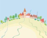 wzgórza wiejski krajobrazowy ilustracja wektor