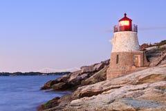 wzgórze bridżowa grodowa latarnia morska Newport Obrazy Stock