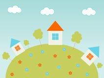 wzgórze domy ilustracji