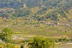 wzgórze ryż tarasuje plemię wioskę Zdjęcia Stock