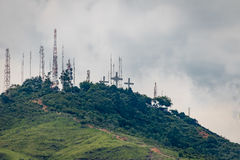 Wzgórze Trzy krzyża Cerro De Las Tres Cruces, Cal -, Kolumbia Zdjęcie Royalty Free