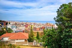 Wzgórze widok na Calella miasteczku, Catalonia, Hiszpania fotografia royalty free