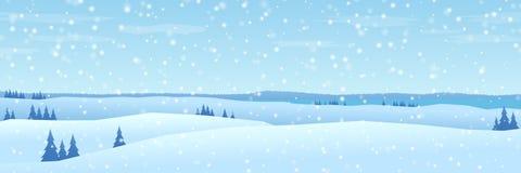 Wzgórze zimy krajobrazu projekta płaska panorama royalty ilustracja