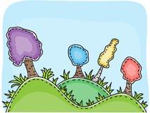 wzgórzy ilustraci krajobrazu drzewa Fotografia Royalty Free