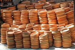 Wzmacnia glinianego garnek pokazuje dla sprzeda?y obraz stock