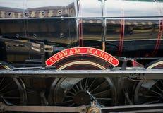 Wznawiaj?ca Brytyjska parowa lokomotywa 7827 ?Lydham rezydencja ziemska ?, Paignton, Devon, Anglia, Zjednoczone Kr?lestwo, Maj 24 fotografia stock