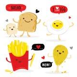 Wznoszący toast chlebowego karmowego kurczaka Jajeczny francuz Smaży kreskówka Ślicznego wektor ilustracja wektor