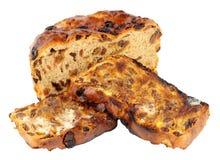 Wznoszący toast irlandczyka Barmbrack chleba Słodcy plasterki Z masłem Zdjęcie Stock