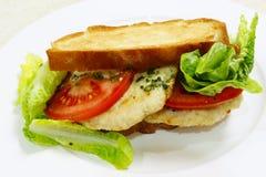 Wznosząca toast kurczaka hamburgeru kanapka Fotografia Stock