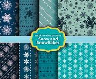 Wzorów płatki śniegu i śnieg Obraz Royalty Free