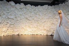 Wzorcowa poza przy Naeem Khan lookbook krótkopędem podczas spadku 2015 Bridal kolekci Zdjęcie Stock