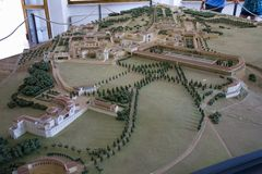 Wzorcowa replika willa Adriana wyjątkowy kompleks klasyczni budynki tworzący w 2nd wieku (przy Tivoli, blisko Rzym) zdjęcia royalty free