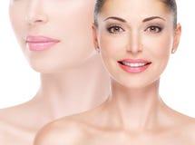 Wzorcowa twarz piękna uśmiechnięta kobieta Zdjęcie Royalty Free