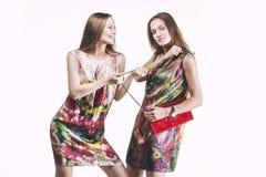 Wzorcowe piękne kobiety w jaskrawych sukniach w pełnej długości na bielu Fotografia Stock