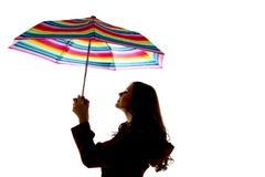 Wzorcowego mienia tęczy kolorowy parasol Zdjęcie Stock