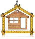 Wzorcowy dom i Drewniana falcowanie władca fotografia stock