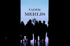 Wzorcowy spaceru pas startowy dla VADIM MERLIS wybiegu przy zimą 2017-2018 przy Mercedes-Benz mody tygodniem Rosja Obraz Stock