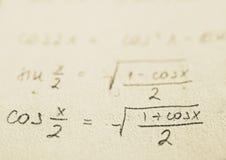 wzory do szkoły z matematyki Zdjęcia Stock