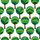 Wzorzyści drzewa, Bezszwowy wzór Obraz Royalty Free