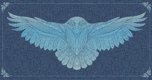 Wzorzysta śnieżna sowa ilustracji