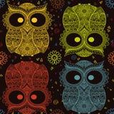 Wzorzysta sowa na grunge tle Afrykanina, hindusa, totemu, tatuażu projekt/ Ja może używać dla projekta koszulka Obraz Stock