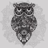 Wzorzysta wektorowa sowa na ornamentacyjnym mandala tle Afrykanin, hindus, totem, tatuażu projekt Wektorowa sowa w plemiennym Fotografia Royalty Free