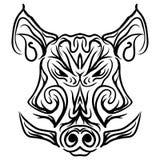 Wzorzystej knur głowy Czarny i biały tatuaż Obraz Stock