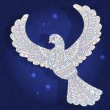 Wzorzysty abstrakcjonistyczny wizerunek gołąbka na zmroku - błękitny tło Zdjęcia Royalty Free