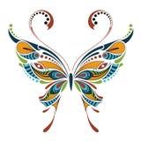Wzorzysty barwiony motyl Afrykanina, hindusa, totemu, tatuażu projekt/ royalty ilustracja