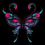Wzorzysty barwiony motyl Afrykanina, hindusa, totemu, tatuażu projekt/ ilustracja wektor
